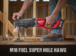 Milwaukee M18FRAD cordless brushless super hole hawg